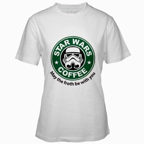 Funny T-Shirts (Star Wars Coffee) Great Gift Ideas For Adults, Women, Girls, Youth, & Teens, Collectible Novelty Shirts - X-Large - White