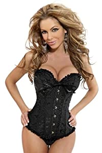 Sexy Gothic Satin Vintage Lace Up Boned Brocade Corset Basque Top from Yuelai