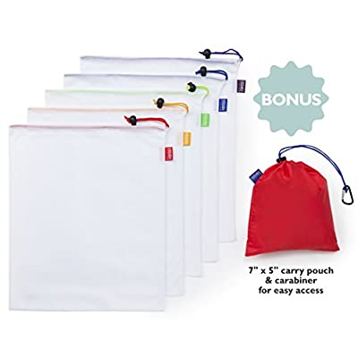 5 x Reusable Produce Bag Set With Bonus Pouch And Carabiner. Eco Friendly Bulk Food Bags For Fruit And Vegetable Produce. Fine Mesh Bag Doubles As Nut Milk Bag, Delicate Washing Bag And Storage Bag