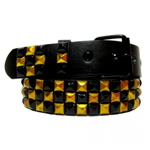 Dabung- Women's Faux Leather Pyramid Studded Belts -Black-Gold/S Gold Stud Belt