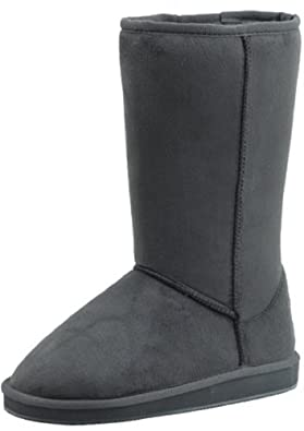 "Womens Boots Mid Calf 12"" Australian Classic Tall Faux Sheepskin Fur 4 Colors (6, Grey HS001)"