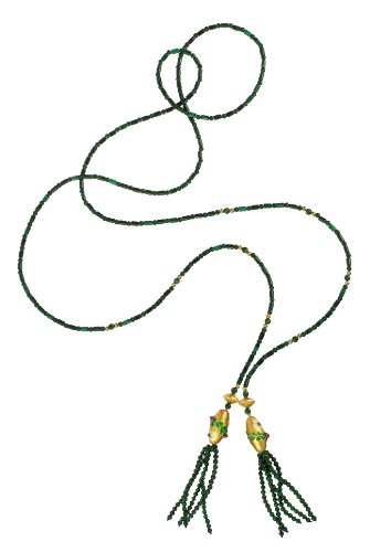 Malachite Strand with Flower Cloisonne Oval Tassel Necklace 52