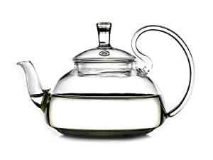 Glowhi Glass Teapot Heat Resistant for Blooming Tea 600ml or 21-ounce from GlowHi