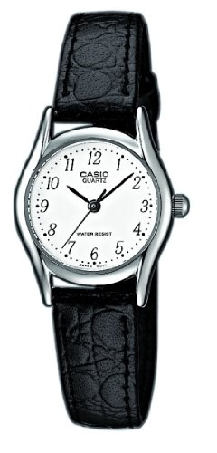 Casio - LTP-1154E-7BEF Vintage - Ladies Watch - Analogue Quartz - White Dial - Black Leather Strap