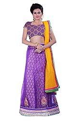 Sonika Purple & Yellow Net 3 Piece Lehenga Choli