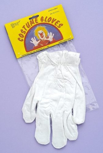 White Cotton Gloves Costume Accessory