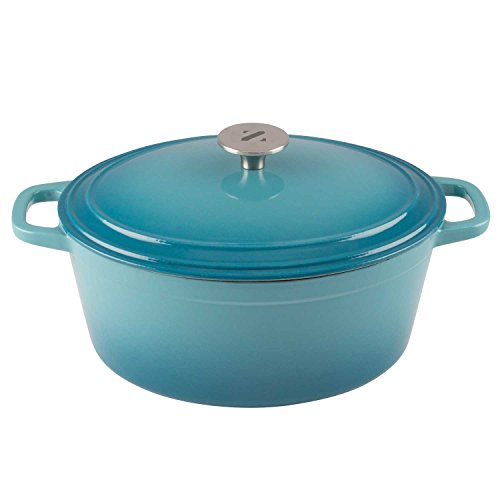 Zelancio 6 Quart Cast Iron Enamel Covered Oval Dutch Oven Cooking Dish with Skillet Lid in Teal