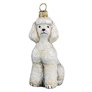 Joy to the World Collectibles European Blown Glass Pet Ornament, Toy Poodle, White