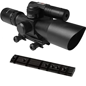 AIM 2.5-10x40 Tactical Rifle Scope w  illuminated Reticle + Green Sight And Bolt-On... by m1surplus