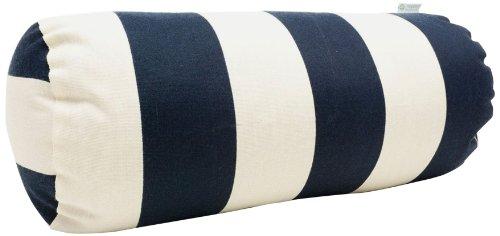Majestic Home Goods Vertical Stripe Round Bolster, Navy Blue