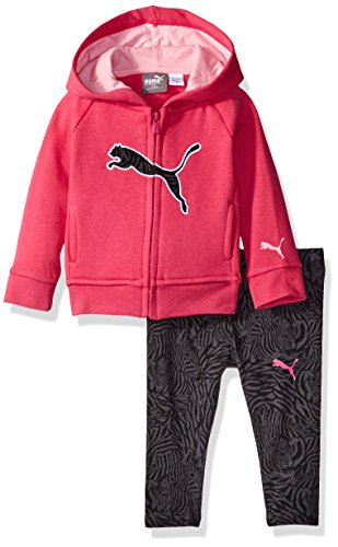 PUMA Girls' Baby 2 Piece Floral Print Long Sleeve Tee and Legging Set, Pink Glow, 3-6 Months