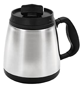 Thermoserv Coffee/Travel 20-Ounce Brushed Stainless Steel Wide Body Mug, Silver
