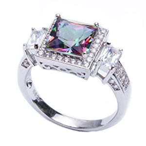 .925 Sterling Silver 5.50ct Princess Cut Rainbow Colored CZ & Cz Ring Size 7