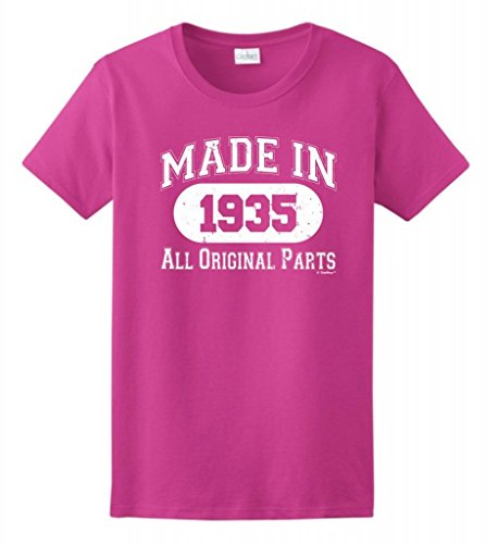80Th Birthday Gift Made 1935 Original Distressed Ladies T-Shirt 2Xl Heliconia