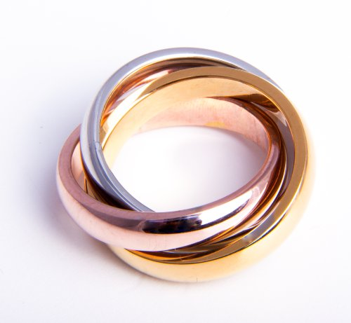 3-Farben-Color-Ring-Steel-poliert-Gold-Rosegold-plated-Tricolor-Dreierring-Bandring-Rose-Gold-Silber-14-Gren-48-153
