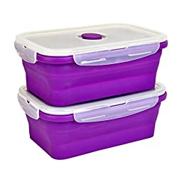 DII Silicone Collapsible, Airtight Food Storage Containers, Dishwasher & Microwave Safe, BPA Free, Snap On Lid, Set of 2, Purple - Large