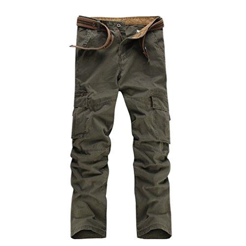 Baymate Uomo Casuali Degli Lavabile Multi Tasca Esterna Tempo Libero Pantaloni Grigio 34