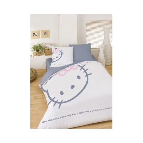 parure housse de couette lit hello kitty blinky white 200. Black Bedroom Furniture Sets. Home Design Ideas