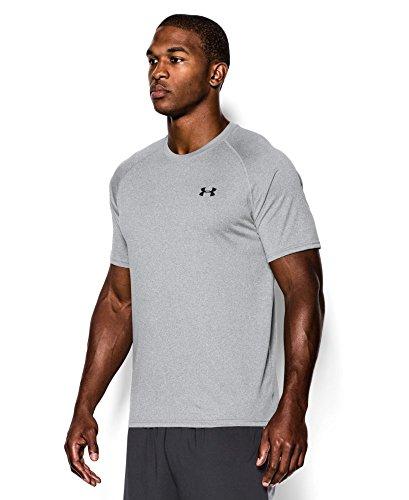 Under Armour Men's Tech Short Sleeve T-Shirt, True Gray Heather/Black, Large