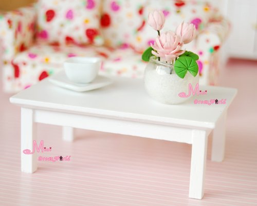 1/12 Dollhouse Miniature Wood Pure White Coffee Tea Table