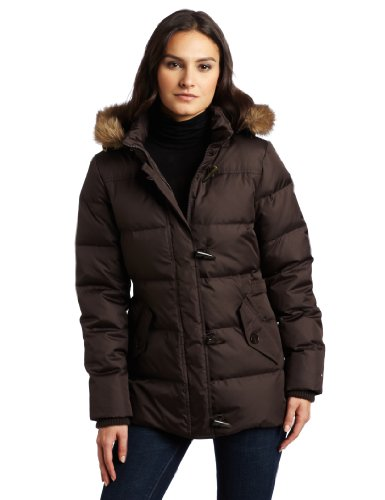 Tommy Hilfiger Women's Hooded Down Jacket, Chocolate, Small