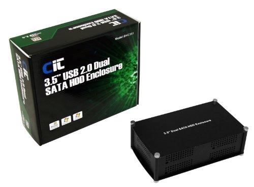 CiT 3.5 inch Dual USB 2.0 SATA HDD Enclosure