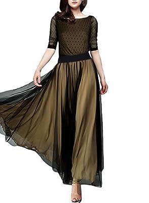 Miusol® Women's Casual Polka Dot 2/3 sleeve Summner Maxi Classical Dress