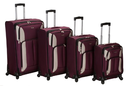 Rockland Luggage Impact Spinner 4 Piece Luggage Set, Burgundy, One Size