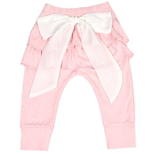 Ding-dong Baby Girls Bowknot Princess Lacework Pants(Pink,3-6M)