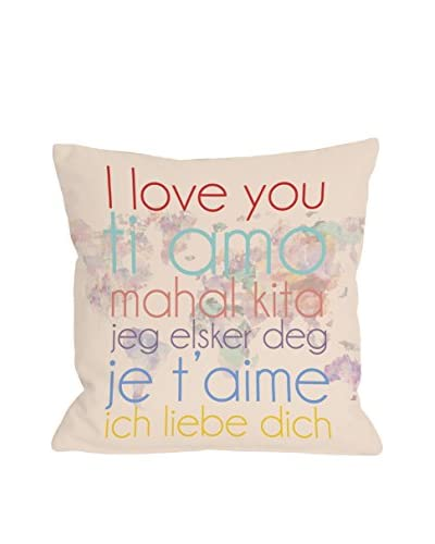 One Bella Casa I Love You Multi Languages Map Pillow, Multi