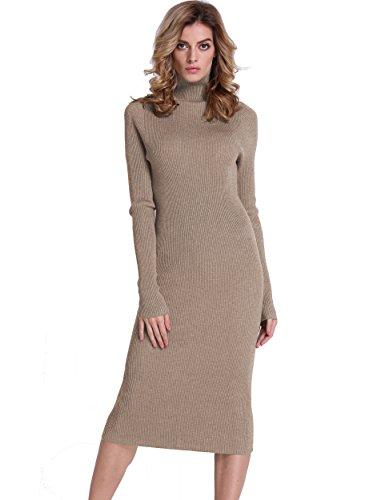 PrettyGuide Women Slim Fit Ribbed Turtleneck Long Sleeve Midi Knit Sweater Dress Camel L