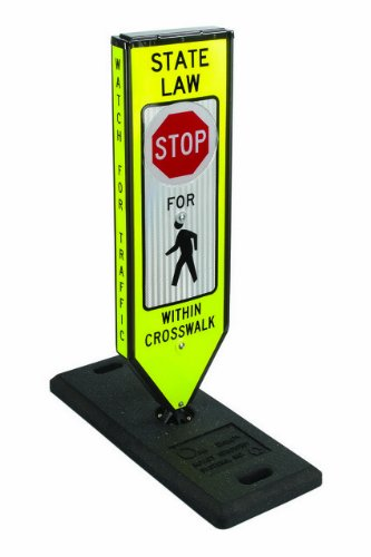 Solestrian, Stop, Illuminated 4-Sided In-Road Crosswalk Sign, Solar Powered W/One Base & Qr Pin