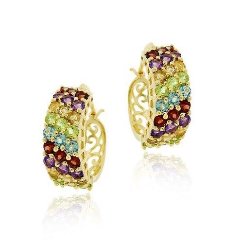 18K Gold over Sterling Silver 3 Row Multi Gemstone Hoop Earrings