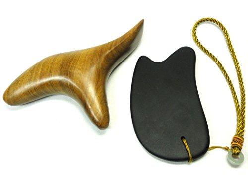 オカリナ型3Wayウッドマッサージ棒 & 天然ベン石かっさプレート