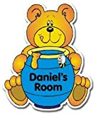 Personalised Blue Honey Bear Door Plaque