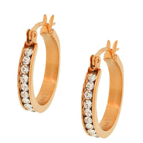 Stainless Steel Rose Gold Tone White Crystals Cz Womens Classic Hoop Earrings (0.78 Inches)