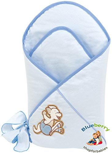 Blueberry Shop Pretty Newborn Swaddle Wrap Blanket Duvet Sleeping Bag Satin Cotton Blue