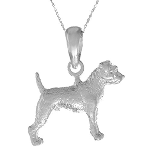 925 Sterling Silver Dog Necklace Charm Pendant with 18 Inch Chain, 3D Jack Russle Terrier Textured (Jack Russle compare prices)