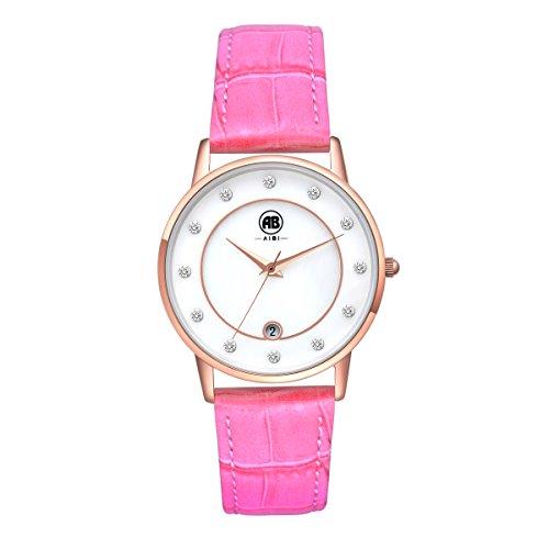 aibi-impermeable-femmes-montres-rose-ton-or-rose-bracelet-en-cuir-cadran-blanc-avec-date