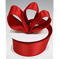 """3 Spools - 1-1/2"""" Red Satin Wired Edge Ribbon - 30 Yards Total"""
