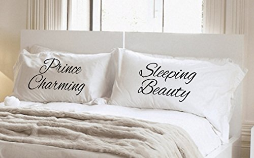 Prince Charming Sleeping Beauty Pillowcases, Pillowcase Set-Couples Gift- NEW