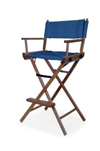 Telescope Casual Heritage Bar Height Director Chair, Walnut Finish with Blue Cover