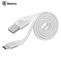 BASEUS Automatic Power-off 1m Type-C Flat Cable for New Macbook/Nexus 6p/5X/One Plus2 etc-WHITE