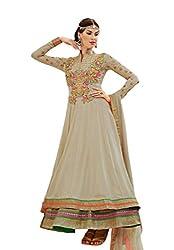 Nirali Women Georgette Dress Material (Kimora 906 Mumtaz _Beige)