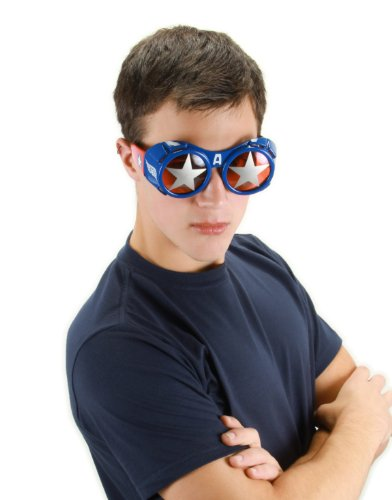 elope Marvel Men's Captain America Goggle Glasses, Red/Silver/Blue, One Size