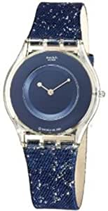 Swatch Women's Skin SFK128 Blue Resin Quartz Watch with Blue Dial