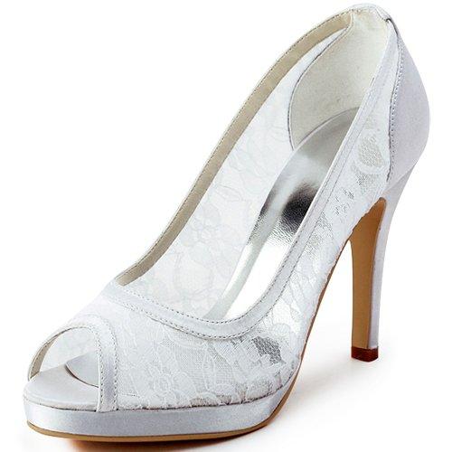 ElegantPark Women EP11084-PF Peep Toe Platform High Heel Lace Satin Wedding Bridal Dress Shoes White US 10