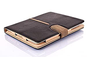 Black Tan Pu Suede Leather Wallet Flip Case Cover for The ipad 2 3 and 4 Full Sleep Wake Function ! Plus Screen Protector and stylus pen