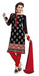 Ethnic For You Chanderi Unstitched Salwar Suit Dress Materials(Black)