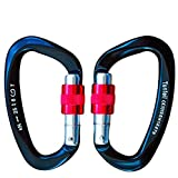 Tunteil Locking Carabiner 25kN˜5600 lb 2 Pack Black D Shape Ultra Light but Strong Aircraft Grade Aluminium Hook Screw Gate Buckle Screw-on biner Carabiner Climbing,Hunting,Camping,Hammock (Color: Black)